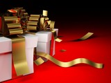 Presents with golden ribbons on red background