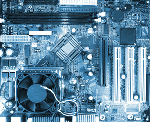 Blue motherboard detail