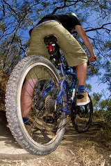 Riding a mountain bike through the bush fast.