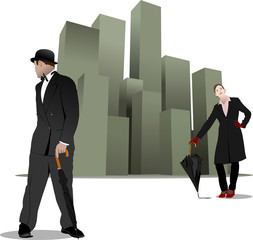 Gentleman and lady  with umbrella on the city background. Vector