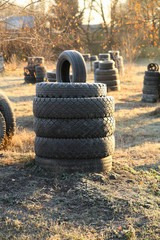Stacked of old tires