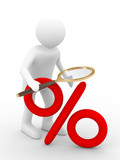Discounts. Increase percent. Isolated 3D image poster