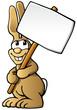 niedlicher cartoon Osterhase mit Schild