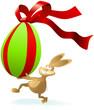 rennender Cartoon Osterhase mit Riesenei mit Schleife