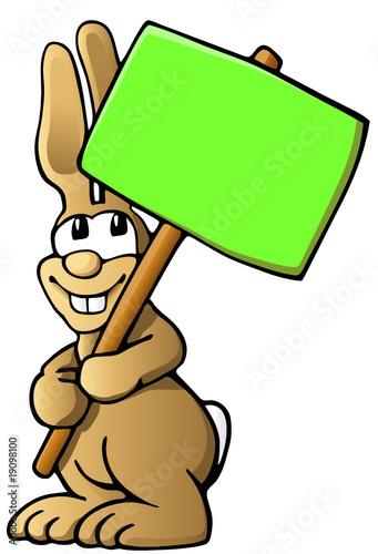 Cartoon Osterhase mit grünem Schild