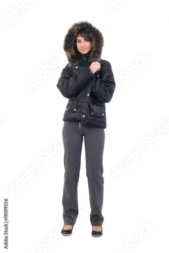 Teenager Girl Winter Jacket. Studio Shoot Over White Background.