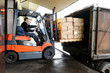 Leinwandbild Motiv Forklift in warehouse