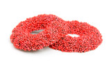 red speckled christmas candy over white background poster