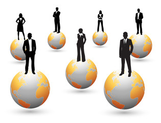Business people on the globe
