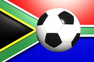 Fußball vor Südafrikanischer Flagge