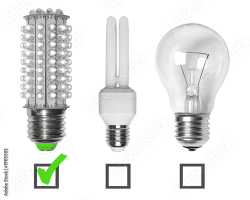 Led, neon and tungsten bulbs with checkboxes.