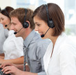 International business team with headset on