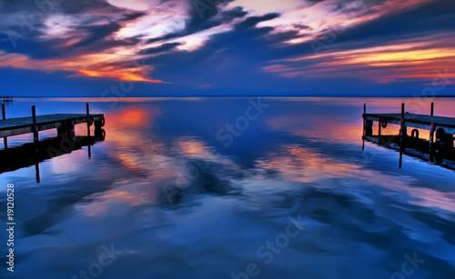 Deurstickers Pier agua azul