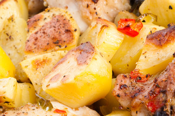 Potato with a hen.