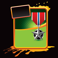 military medal orange splattered template