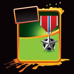 military medal orange splattered template