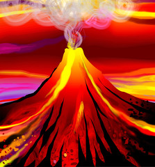 Digital painting of landscape with flame