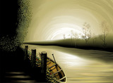 Digital painting of backwater in colour background