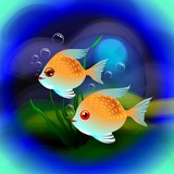 Digital painting of fishes in colour background
