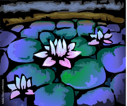 Obraz na Szkle Digital painting of lake with lotus flower