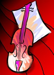 Digital   painting  of  violin