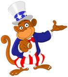 Pointing monkey dressed as Uncle Sam icon I want you poster
