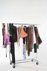 Selection of clothes on a rail