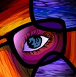 Digital   painting  of   eye with spectacle