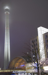berlin alexanderplatz with world clock urania at night