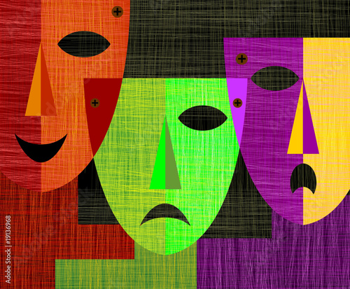 Digital   painting  of   three masks