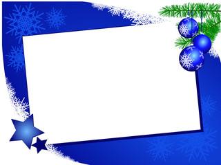 Sfondo natalizio con biglietto bianco, orizzontale