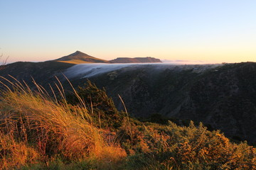 Dawn fog covering Deadwood Plain and Flagstaff hill on St Helena