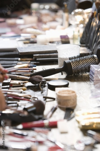 Cosmetics range on dressing table