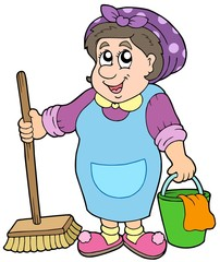 Cartoon cleaning lady