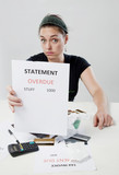 Frustrated woman demanding explanation on money poster