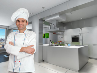 Chef in cool industrial kitchen