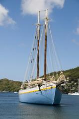 classic wood schooner in harbor bequia st. vincent and the grena