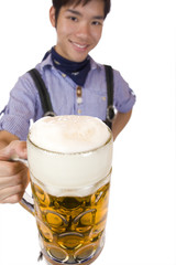 Smiling man cheers with Oktoberfest beer stein (Mass) - Prost