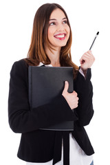 Business women carrying her file and thinking by raising her pen