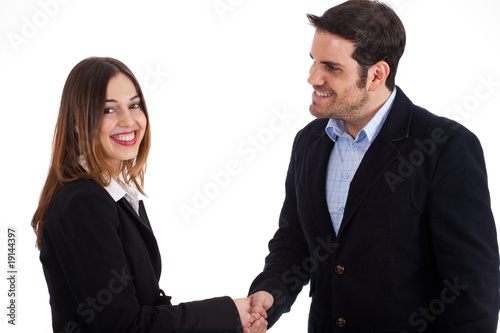 Business man welcoming a women by shake hands