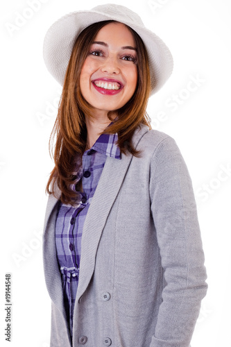 Girl in spring costume giving a broad smile