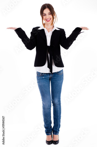 Full length of women posing with her hands open up