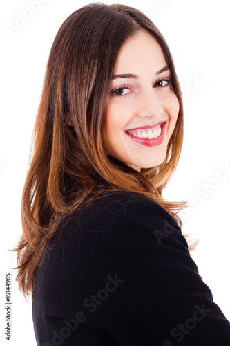young beautiful model smiling side pose