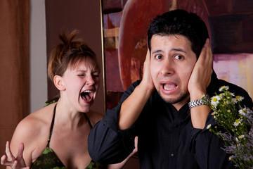 Woman screams at man