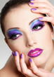 Beautiful  female face with fashion  make-up of eyes