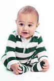 Cute baby in green striped pajamas poster