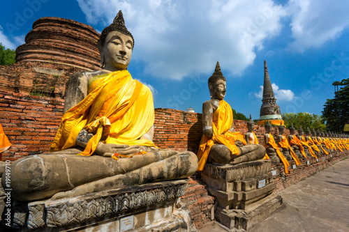 Ruined Old Temple of Ayutthaya, Thailand,