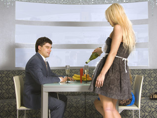 courting couple and blonde waitress