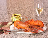 Lobster and wine, a satisfying meal poster