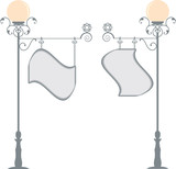 wrought iron  lamp post signage poster